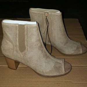 NEW! Taupe Peep-Toe Heeled Ankle Boots